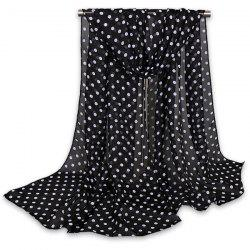 Gossamer Tiny Polka Dot Shawl Scarf - BLACK