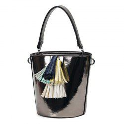 Tassels Metallic Color Bucket Bag - SMOKY GRAY