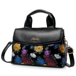 Colorful Flower Embossed Handbag - BLACK