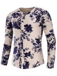 Collarless Floral Print Cotton Linen Shirt