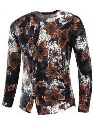 Collarless Cotton Linen Florals Print Shirt
