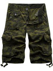 Zipper Fly Camo Cargo Shorts
