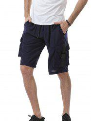 Plastic Buckle Drawstring Pockets Design Sweat Shorts