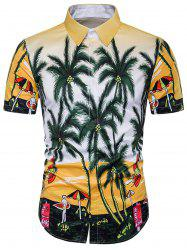 Cover Placket Beach and Tree Print Hawaiian Shirt