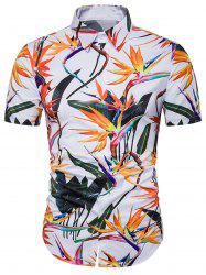 Cover Placket Colorful Floral 3D Hawaiian Shirt - Multicolore 3XL
