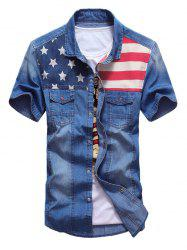 Flap Pocket Distressed American Flag Denim Shirt -