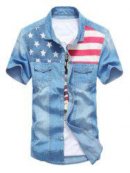 Flap Pocket Distressed American Flag Denim Shirt