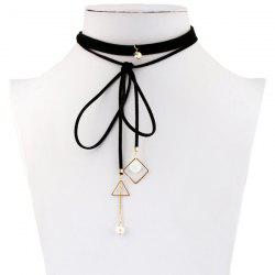 Rhinestone Faux Pearl Triangle Choker Necklace - BLACK