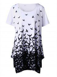 Plus Size Bird Pattern Longline T-Shirt