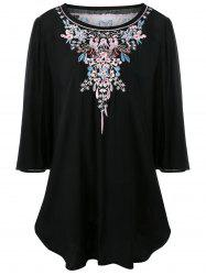 Long Plus Size Floral Embroidered Dressy Top