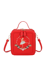 Zip Around Ballerina Embroidered Handbag