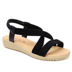 Elastic Band Cross Strap Sandals - BLACK