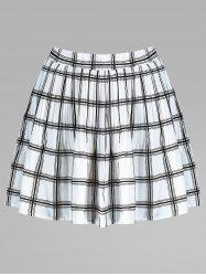 Plaid Pleated Elastic Waist Skirt