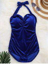 One Piece Velvet Halter Swimsuit