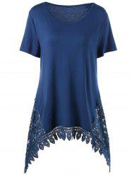 Plus Size Lace Trim Asymmetric Tunic T-Shirt