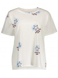 Short Sleeve Star Print Plus Size Tee