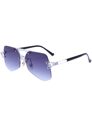 Geometric Rimless Ombre Diaphanous Sunglasses