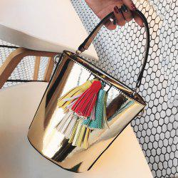 Tassels Metallic Color Bucket Bag