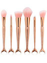 6 Pcs Multifunction Mermaid Shape Makeup Brush Set - ROSE GOLD