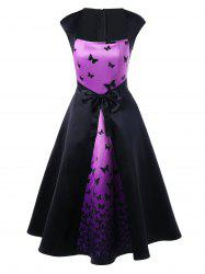 Butterfly Print Bowknot Embellished Square Neck Dress - BLACK