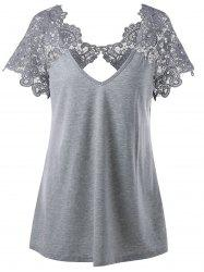V Neck Plus Size Lace Trim Cutwork T-Shirt -