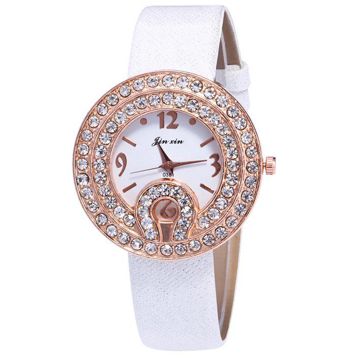 Online Faux Leather Strap Rhinestone Number Watch