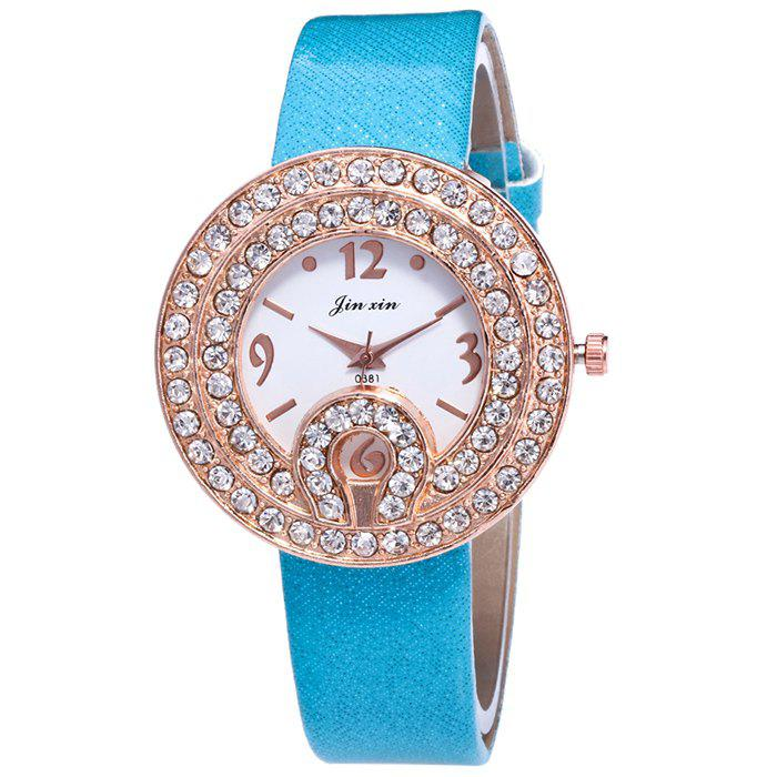 Cheap Faux Leather Strap Rhinestone Number Watch