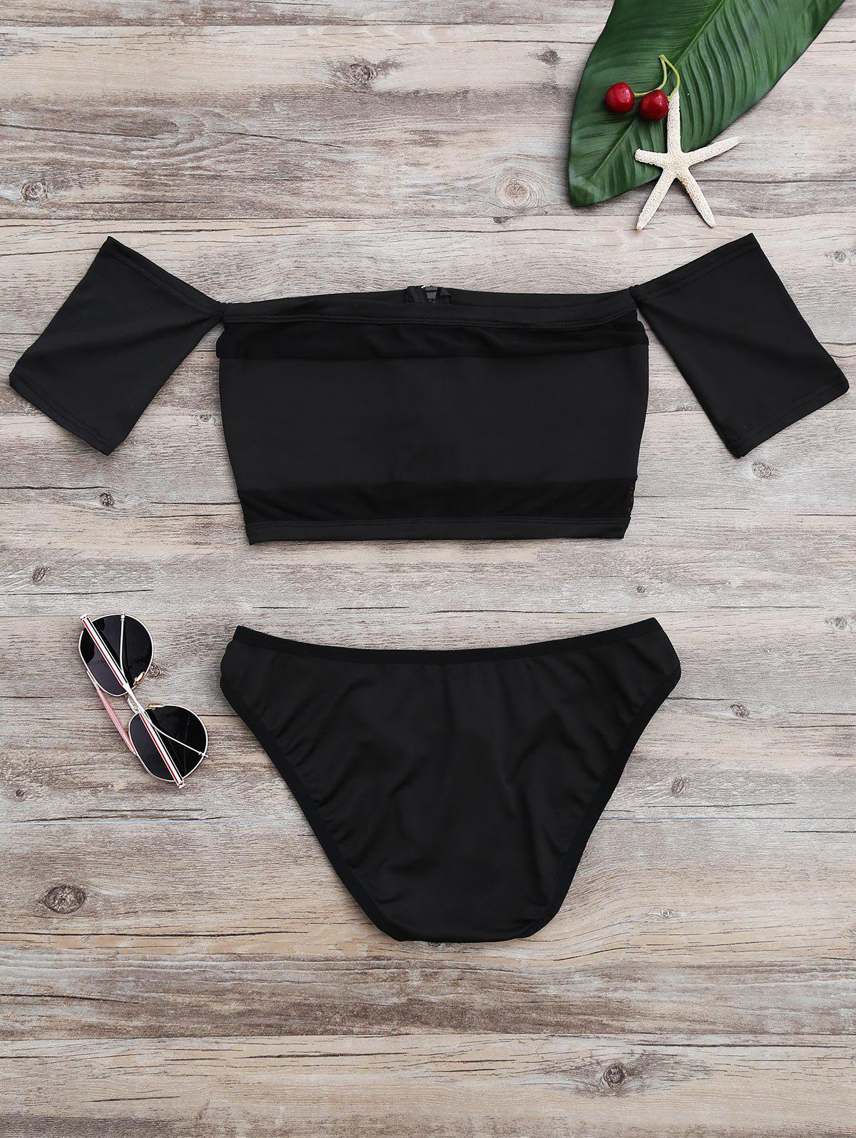 New Off The Shoulder High Cut Mesh Bikini Set