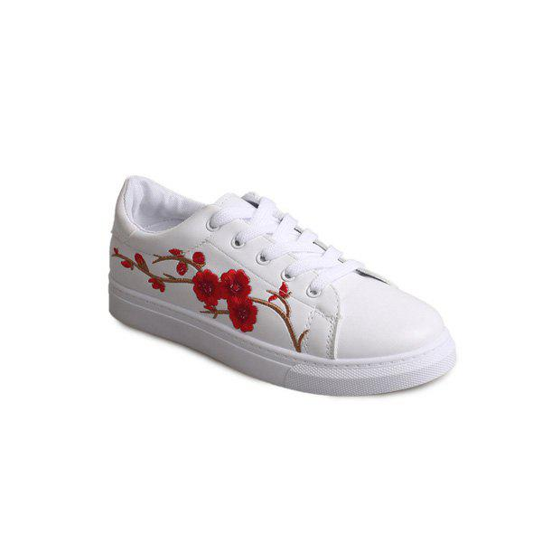 Fancy Faux Leather Embroidery Athletic Shoes