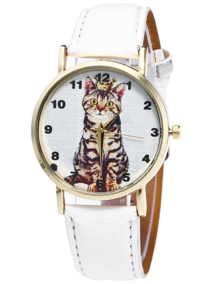 Faux Leather Cat Pattern Number WatchJEWELRY<br><br>Color: WHITE; Gender: For Women; Style: Fashion; Type: Quartz watch; Index Dial: Analog; Case material: Alloy; Band material: PU Leather; Movement: Quartz; Dial Shape: Round; Water-Proof: No; Case Thickness(MM): 8mm; Dial Diameter: 3.7cm; Band Length(CM): 24cm; Band Width(CM): 2cm; Package Contents: 1 x Watch;