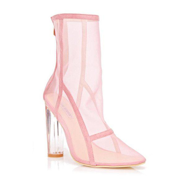 Trendy Zipper Mesh Clear Heel Boots