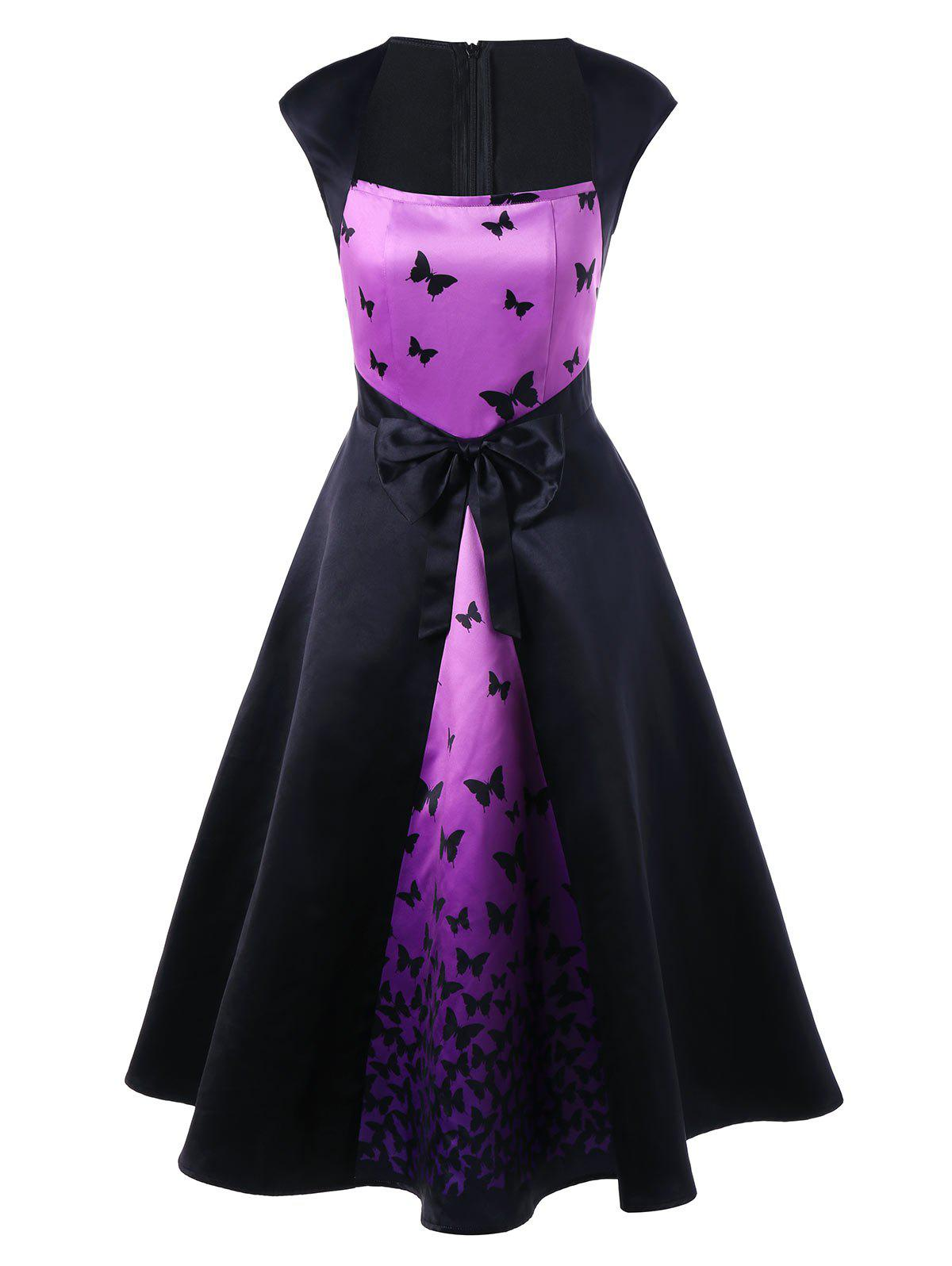 Latest Butterfly Print Bowknot Embellished Square Neck Dress