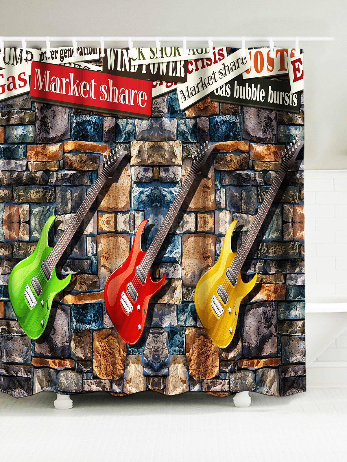 Fashion Guitar Water Resistant Fabric Shower Curtain
