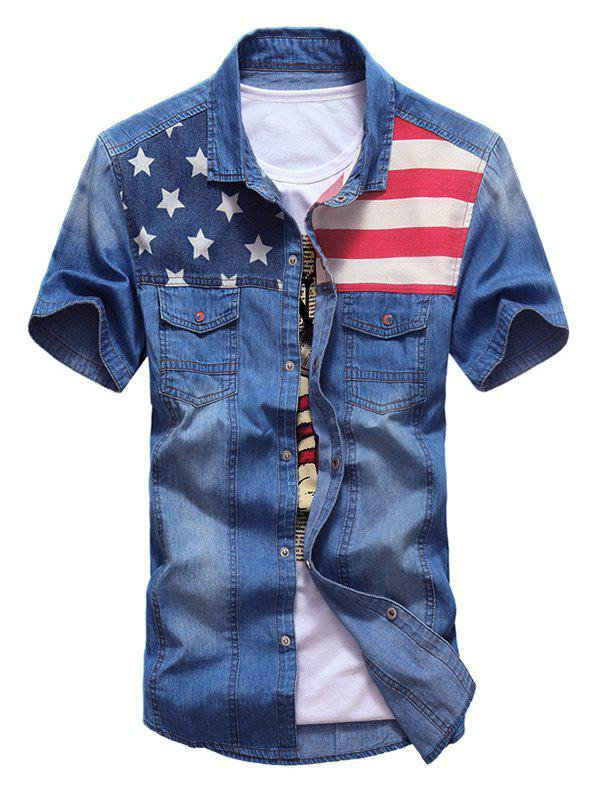 Buy Flap Pocket Distressed American Flag Denim Shirt