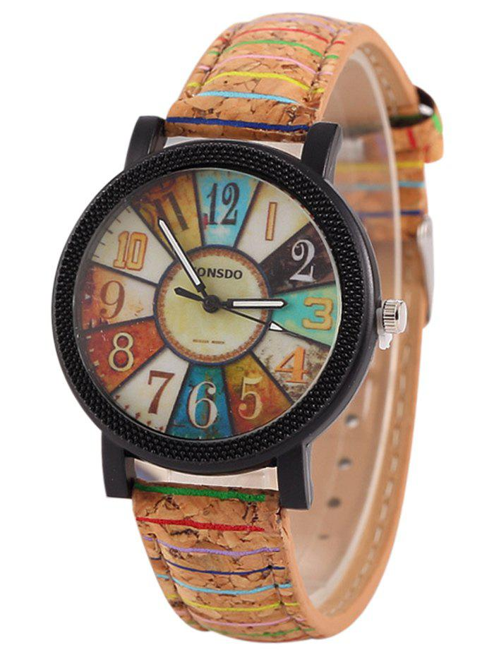 Wood Pattern Number Quartz WatchJEWELRY<br><br>Color: BROWN; Gender: For Women; Style: Fashion; Type: Quartz watch; Index Dial: Analog; Case material: Alloy; Band material: PU Leather; Movement: Quartz; Dial Shape: Round; Water-Proof: No; Case Thickness(MM): 10mm; Dial Diameter: 4cm; Band Length(CM): 24cm; Band Width(CM): 1.8cm; Package Contents: 1 x Watch;