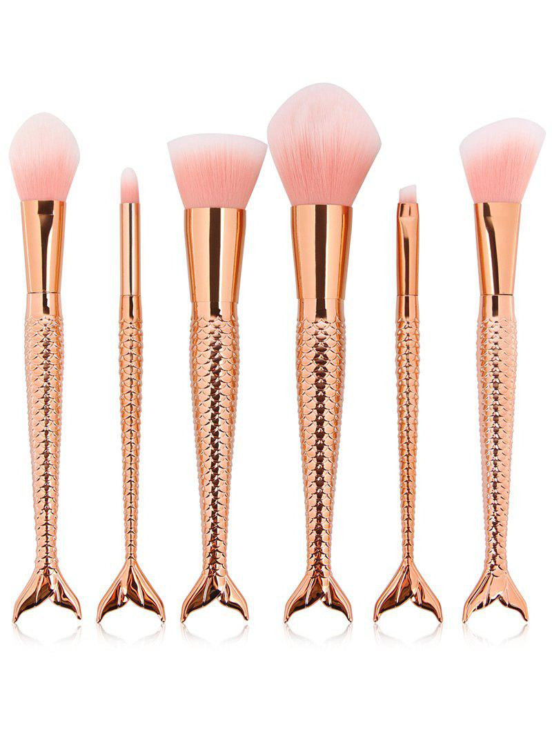 6 Pcs Multifunction Mermaid Shape Makeup Brush SetBEAUTY<br><br>Color: ROSE GOLD; Category: Makeup Brushes Set; Brush Hair Material: Synthetic Hair; Features: Professional; Season: Fall,Spring,Summer,Winter; Length: 20CM; Weight: 0.1370kg; Package Contents: 6 x Brushes (Pcs);
