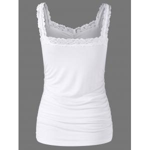 Lace Trim Ruched Tank Top - WHITE L