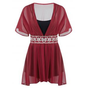 Plus Size Chiffon Embroidered Blouse With Cami Top - Red - 2xl