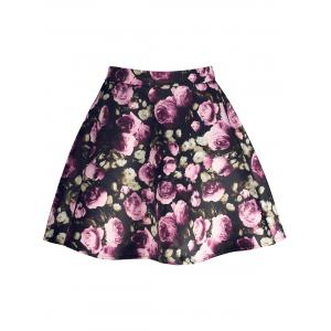 Floral Print High Waisted A Line Skirt - Black - L