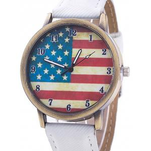Stars And Stripes Flag Number  Jeans Watch - WHITE