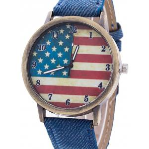 Stars And Stripes Flag Number  Jeans Watch - BLUE