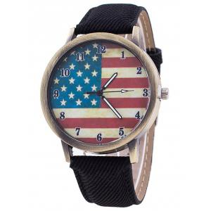 Stars And Stripes Flag Number  Jeans Watch - Black - S