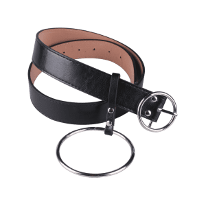 Faux Leather Waist Belt with Metal Rings -