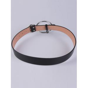 Faux Leather Waist Belt with Metal Rings - BLACK