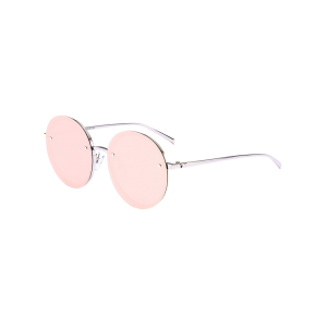 Anti UV Reflective Metal Round Mirror Sunglasses - Silver Frame + Red Mercury Lens