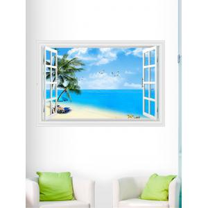 3D Window Design Beach Palm Wall Sticker - Blue - 60*90cm