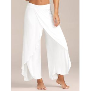 Flowy Layered High Waisted Slit Palazzo Pants - White - Xl