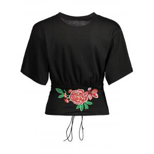 Floral Embroidered Lace Up Tee -