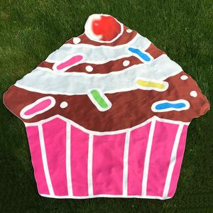 Cartoon Cupcake Design Beach Throw - Coffee