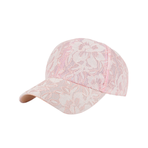 Breathable Lace Floral Baseball Hat - Pink